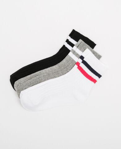 Lot de chaussettes à bandes gris