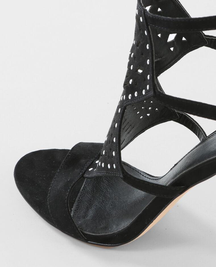 Sandales à talons cloutées noir