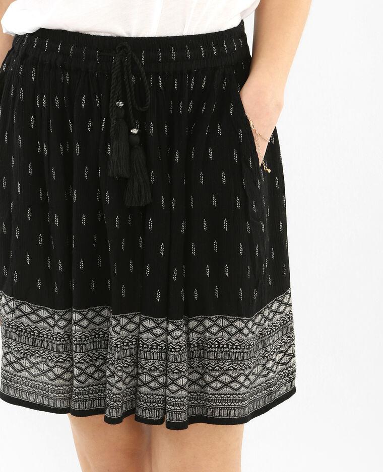 Jupe crépon ceinture pompons noir