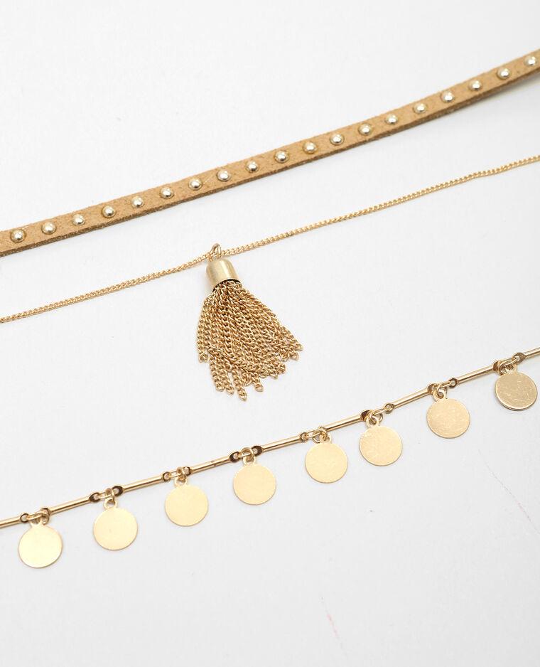 Colliers choker suédine et chaîne doré