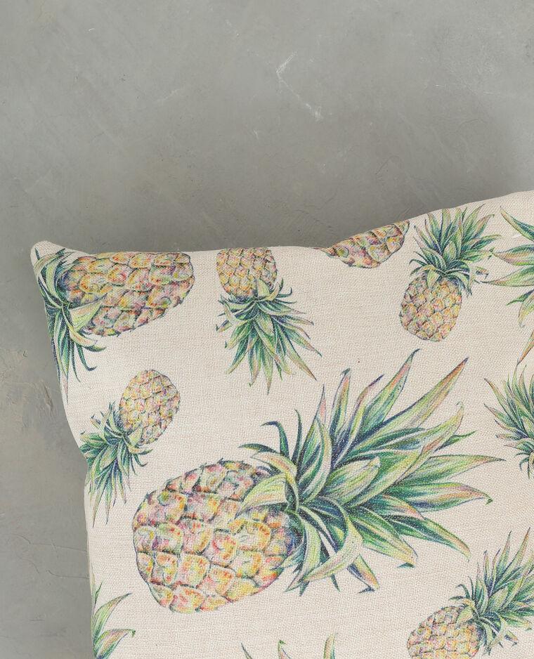 Housse de coussin coton ananas jaune pâle