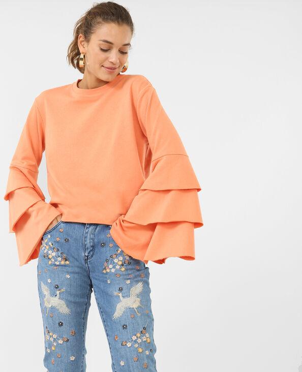 Sweat à volants orange