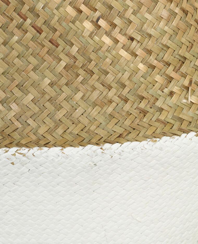 Grand panier bicolore blanc cassé
