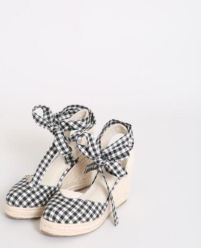Sandales compensées vichy noir