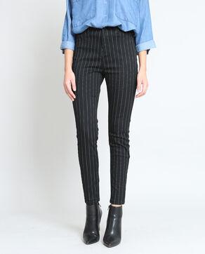 Pantalon skinny rayé noir