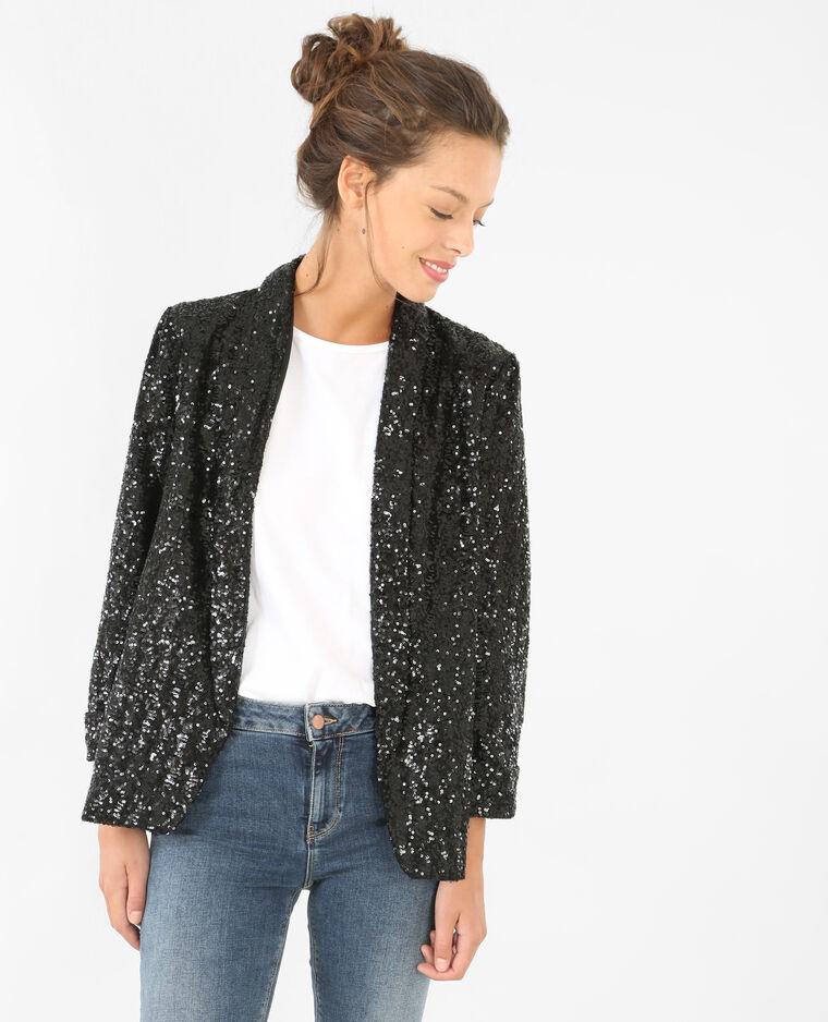 veste blazer sequins noir 323095899a08 pimkie. Black Bedroom Furniture Sets. Home Design Ideas