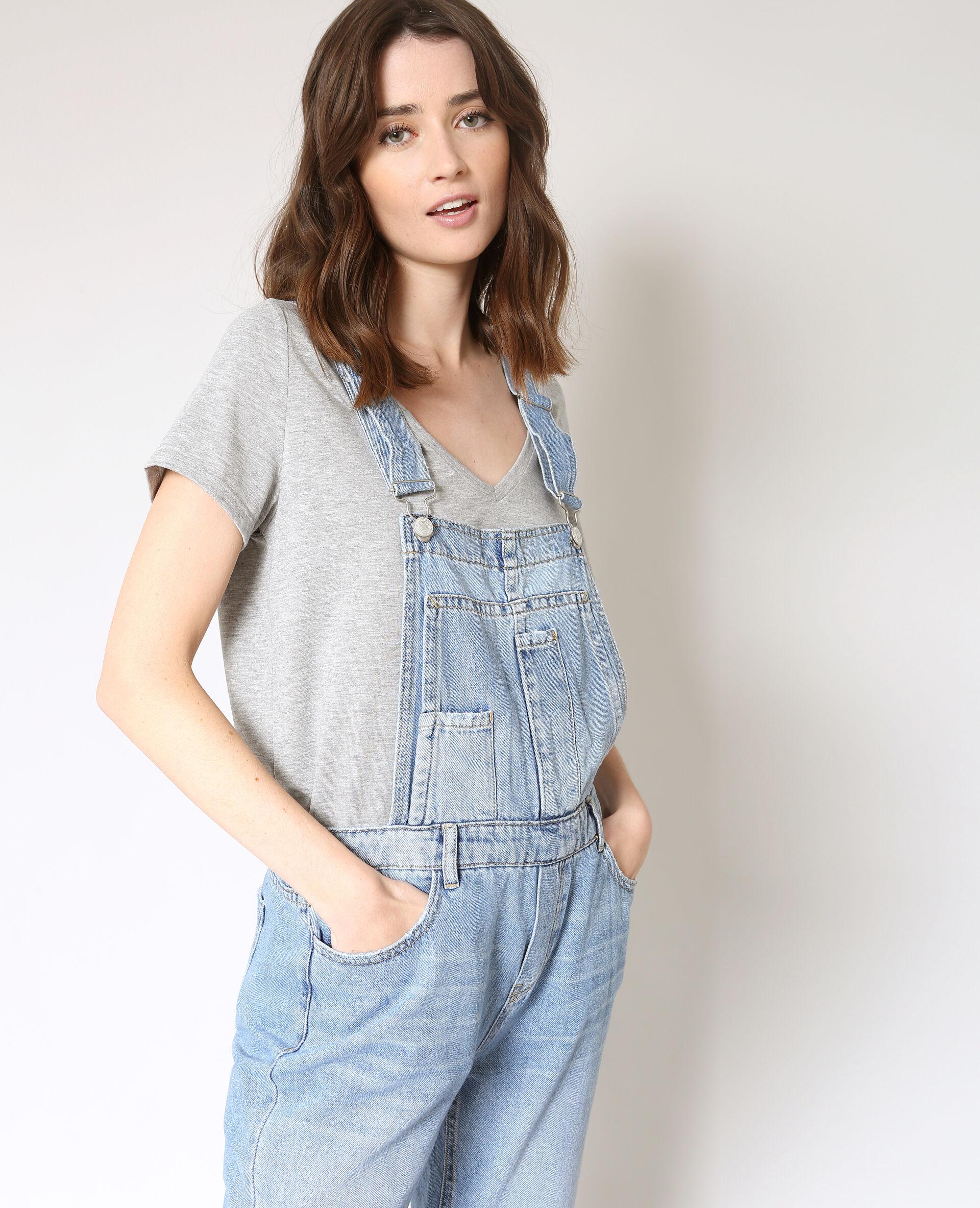 ✅Salopette en jean Femme - Couleur bleu denim - Taille 34 - PIMKIE - MODE FEMME