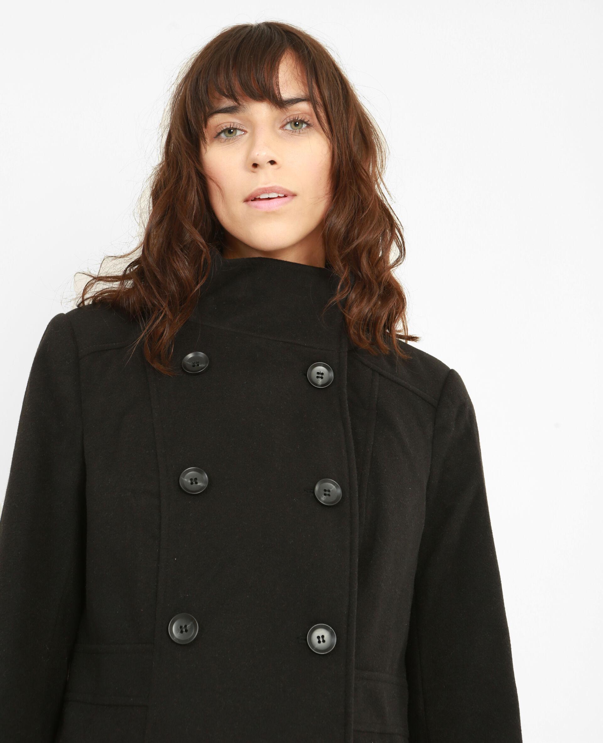 ✅Manteau double boutonnage Femme - Couleur noir - Taille M - PIMKIE - MODE FEMME