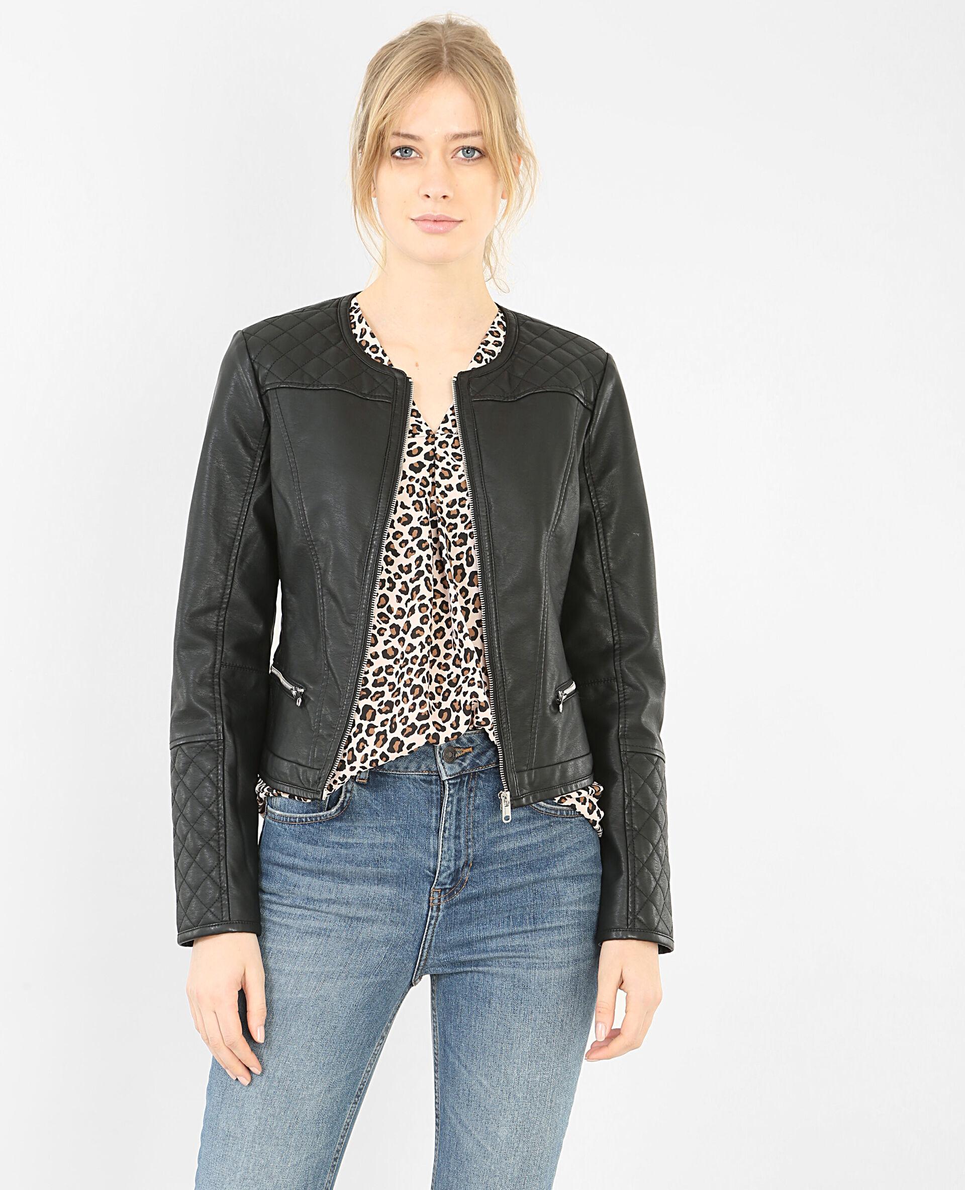 ✅Veste biker Femme - Couleur noir - Taille 40 - PIMKIE - MODE FEMME