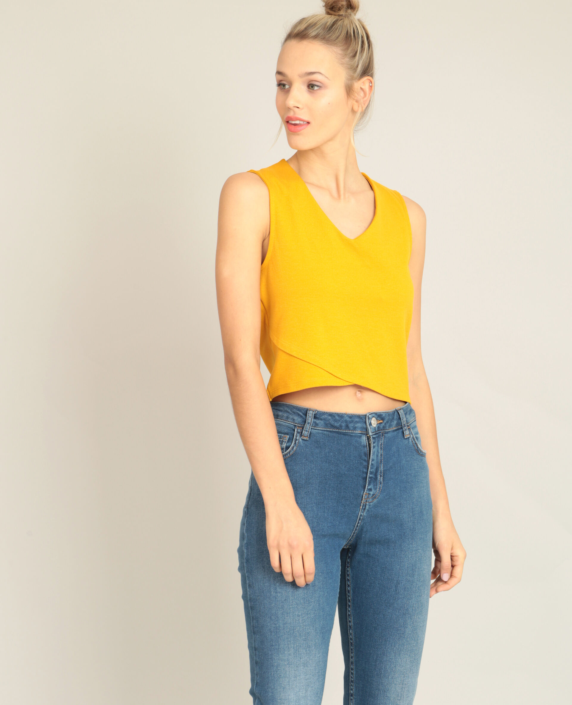 ✅Cropped top col V Femme - Couleur jaune - Taille M - PIMKIE - MODE FEMME