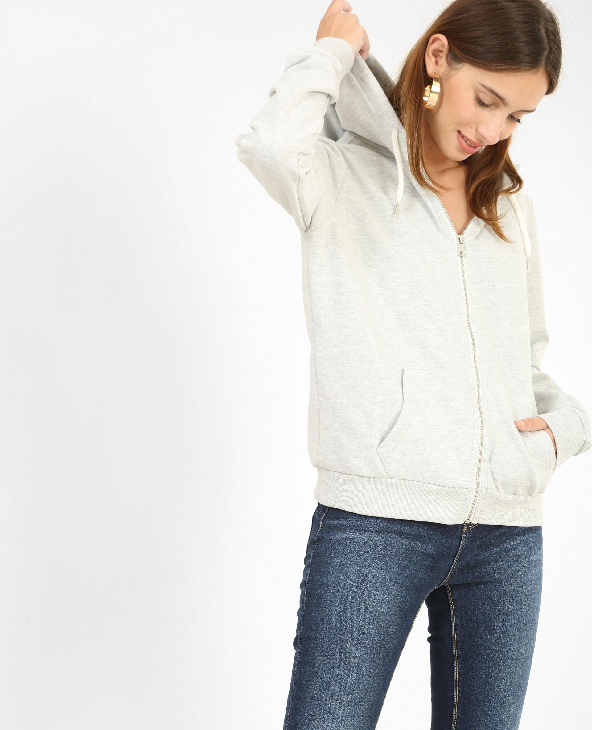 Sweat zippé Femme -20% - Couleur gris perle - Taille XL - PIMKIE - Soldes Hiver 2018