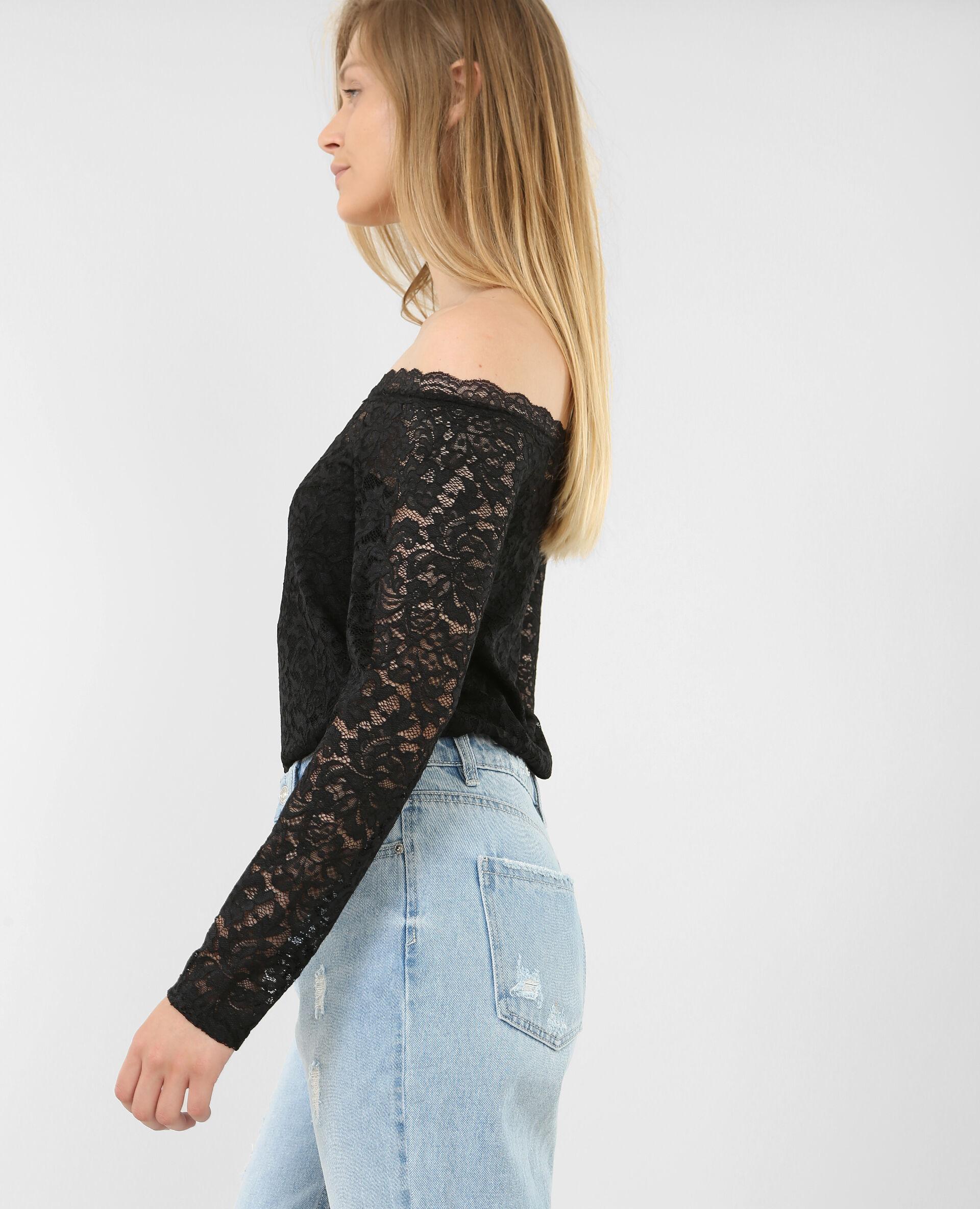 ✅T-shirt en dentelle Femme - Couleur noir - Taille S - PIMKIE - MODE FEMME