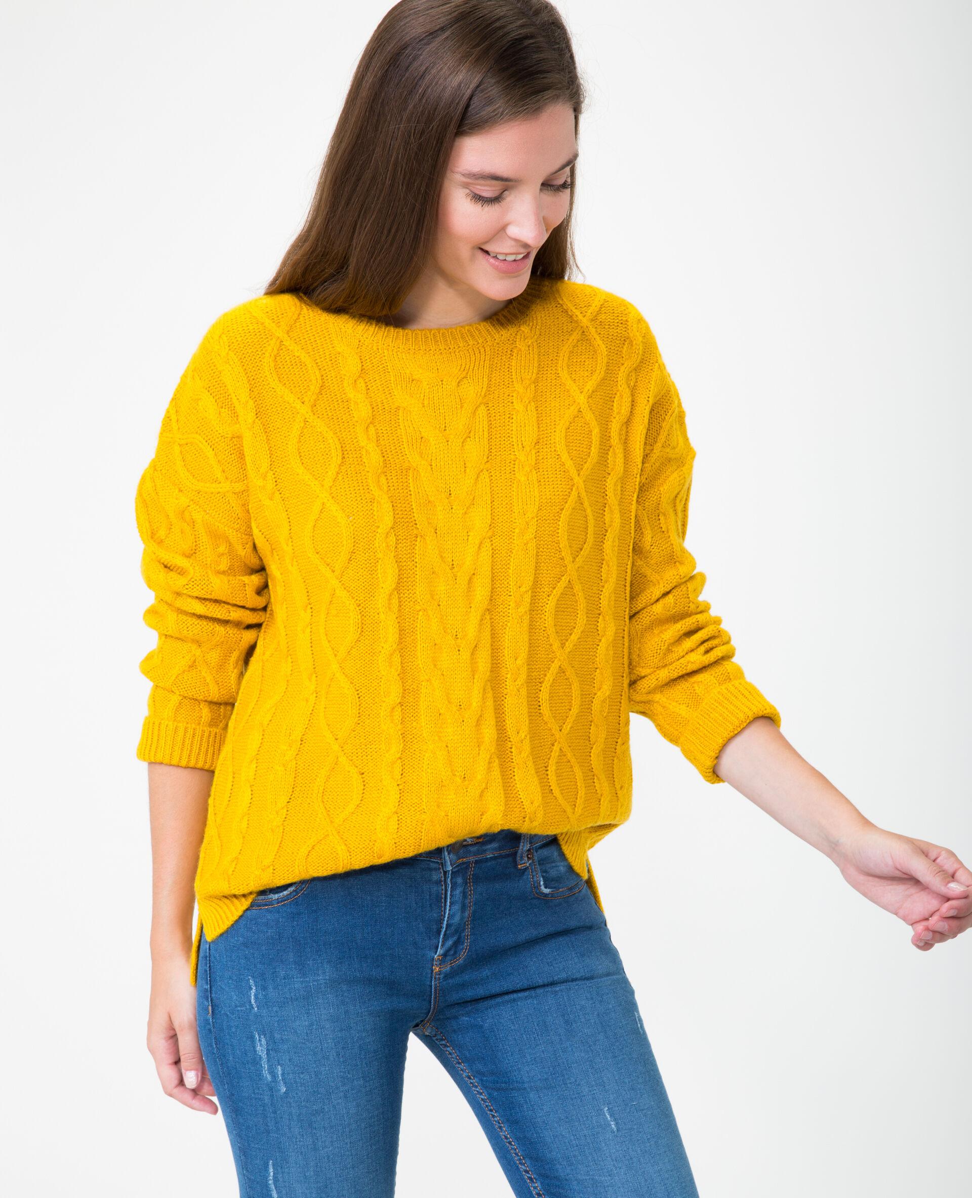 ✅Pull torsadé Femme - Couleur jaune - Taille XL - PIMKIE - MODE FEMME
