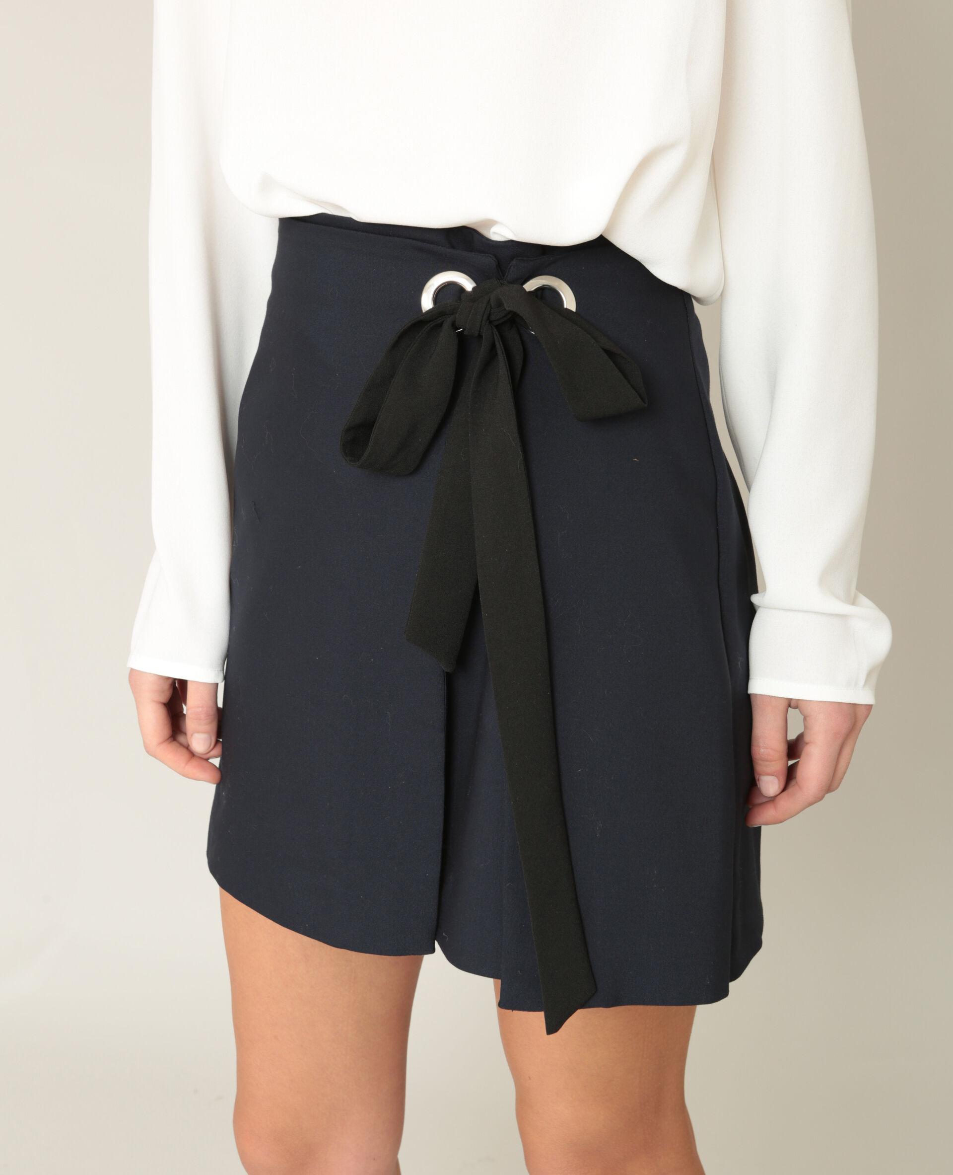 ✅Mini jupe portefeuille Femme - Couleur bleu marine - Taille 36 - PIMKIE - MODE FEMME