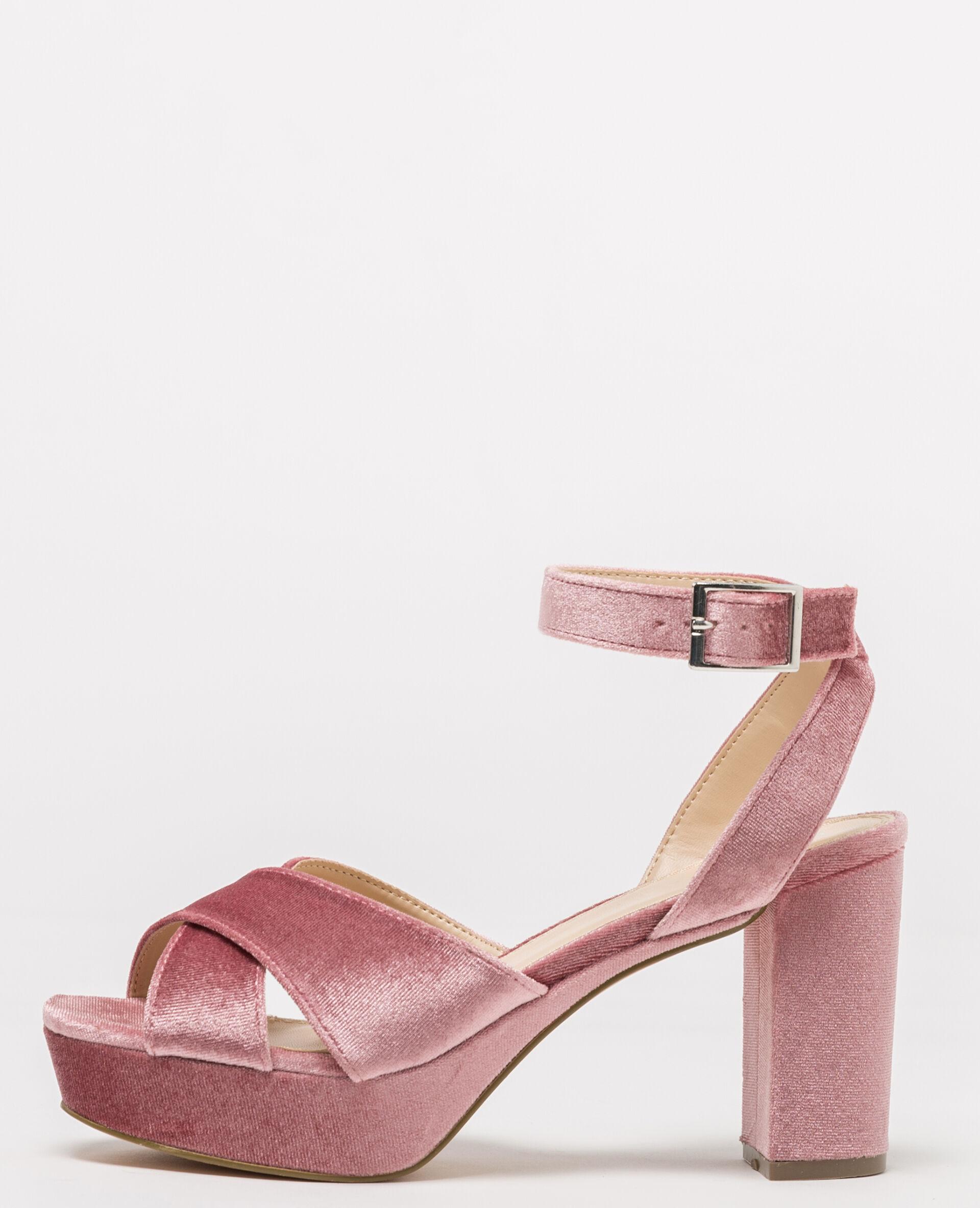 Sandales à plateau velours Femme -50% - Couleur rose poudré - Taille 40 - PIMKIE - Soldes Hiver 2018