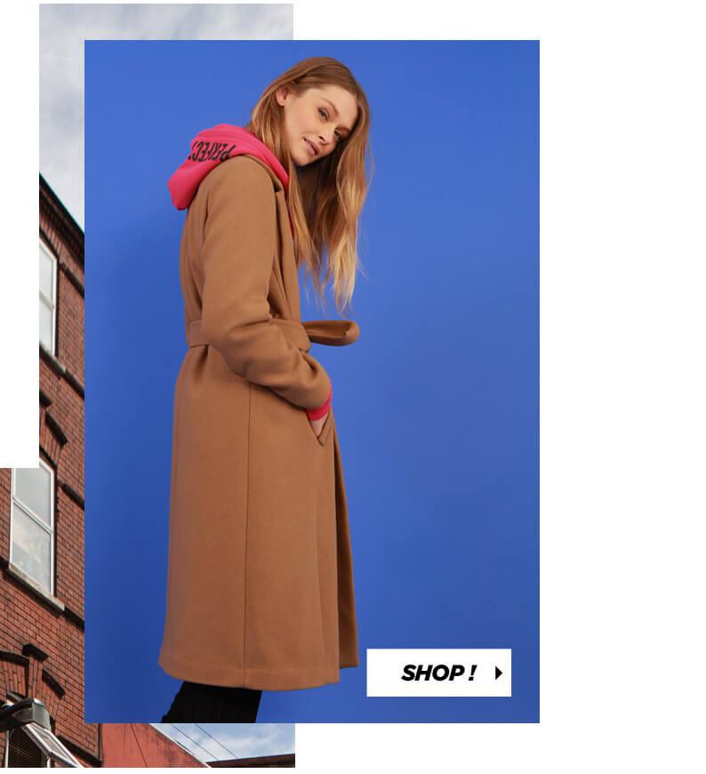PIMKIE Long manteau drap de laine, Sweat long à message