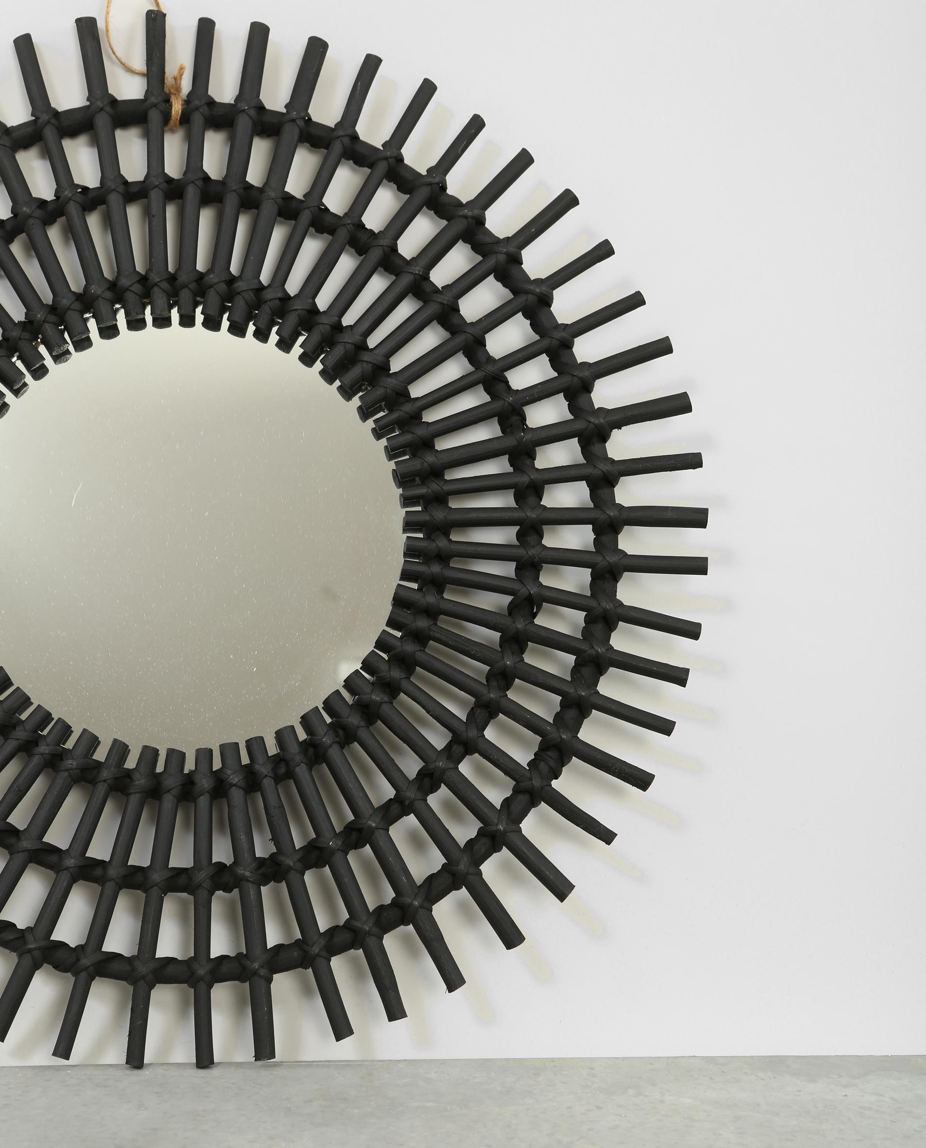 miroir soleil en rotin noir 902206899a07 pimkie. Black Bedroom Furniture Sets. Home Design Ideas