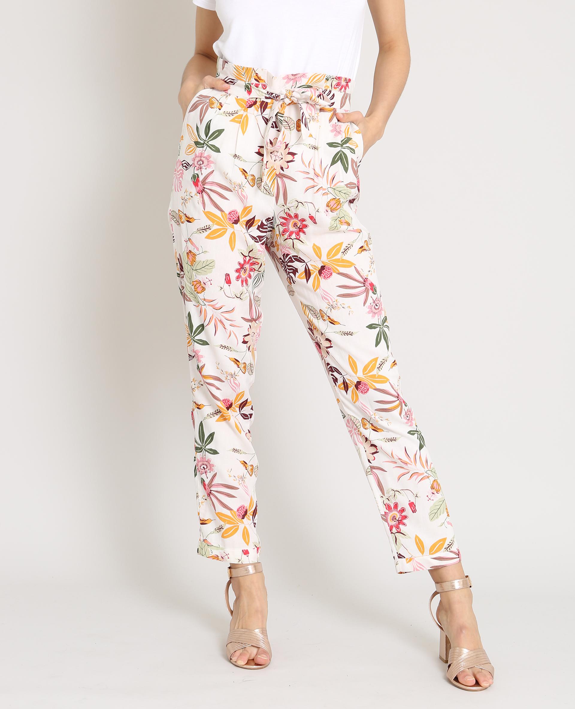Pimkie Pantalon fluide imprimé fleur blanc