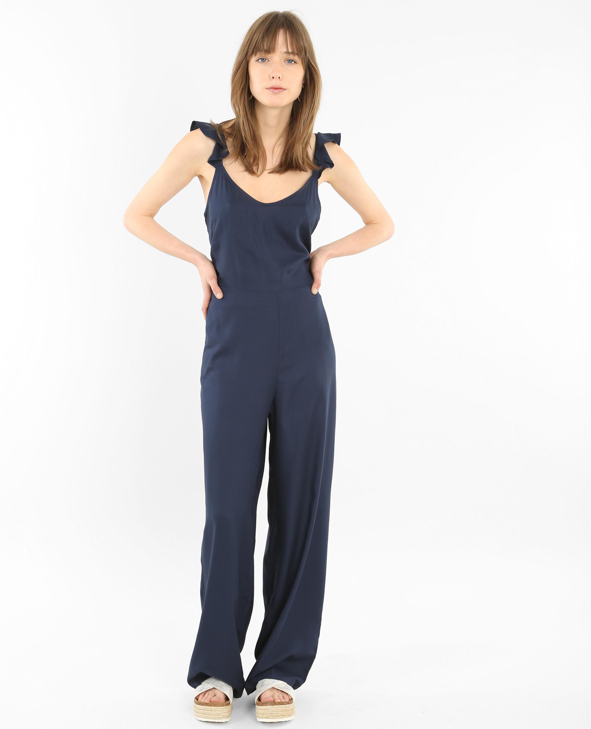 combi pantalon dos nu volant bleu marine 140269635a06 pimkie. Black Bedroom Furniture Sets. Home Design Ideas