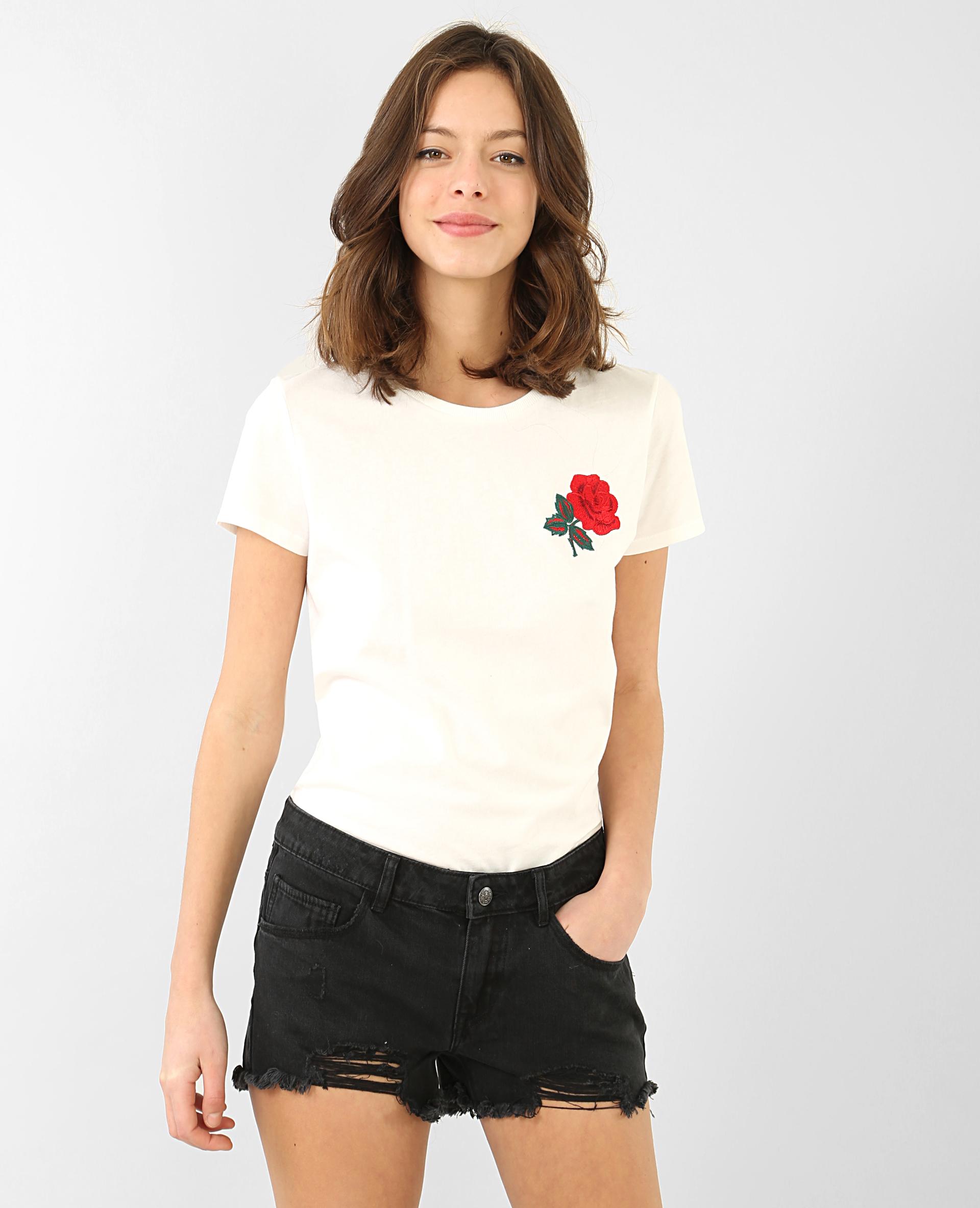 t shirt broderie rose blanc 403530912h43 pimkie. Black Bedroom Furniture Sets. Home Design Ideas