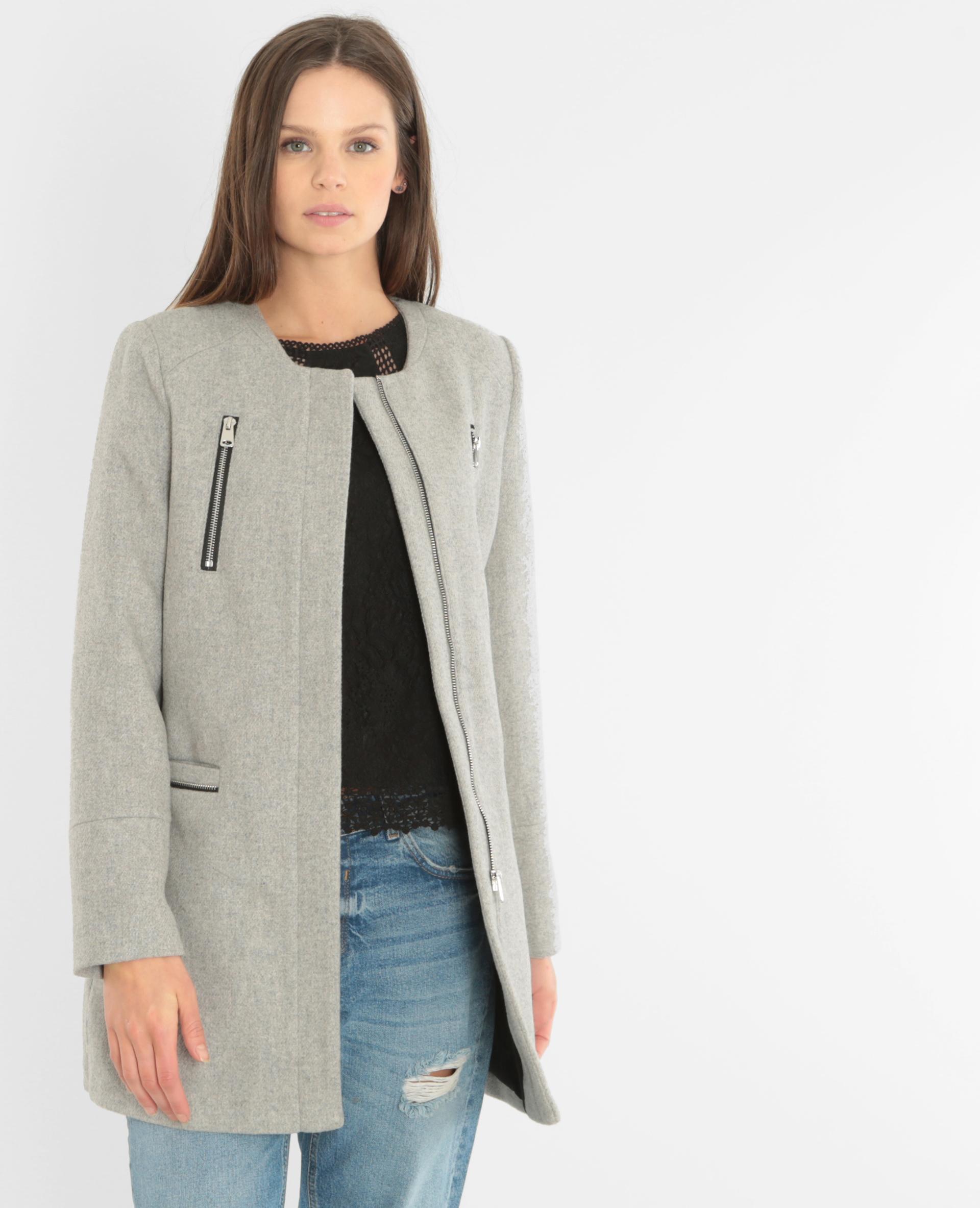 manteau drap de laine gris chin 281067830a08 pimkie