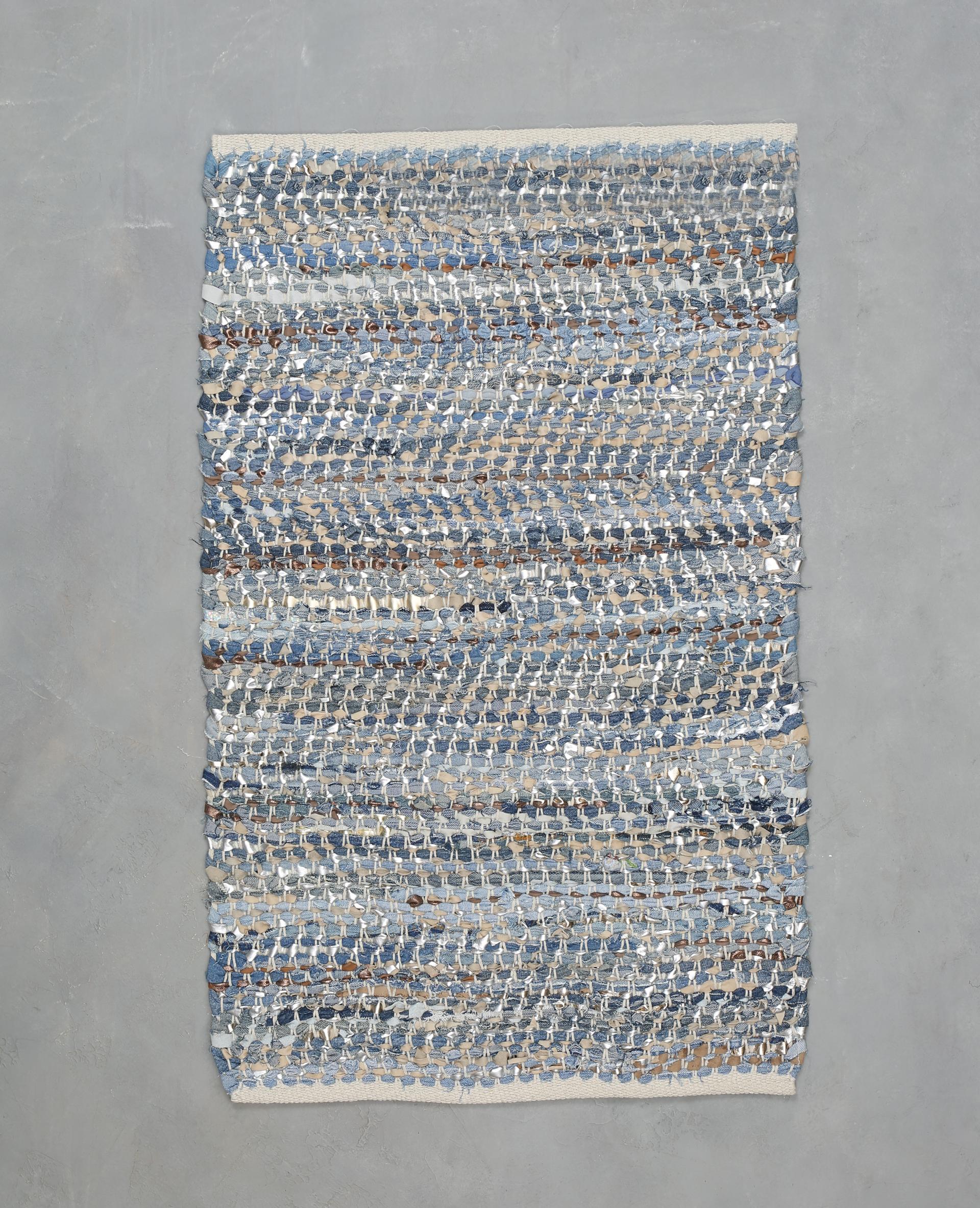 Tapis tiss en jean et simili cuir bleu 955044680g07 pimkie - Tapis en cuir ...