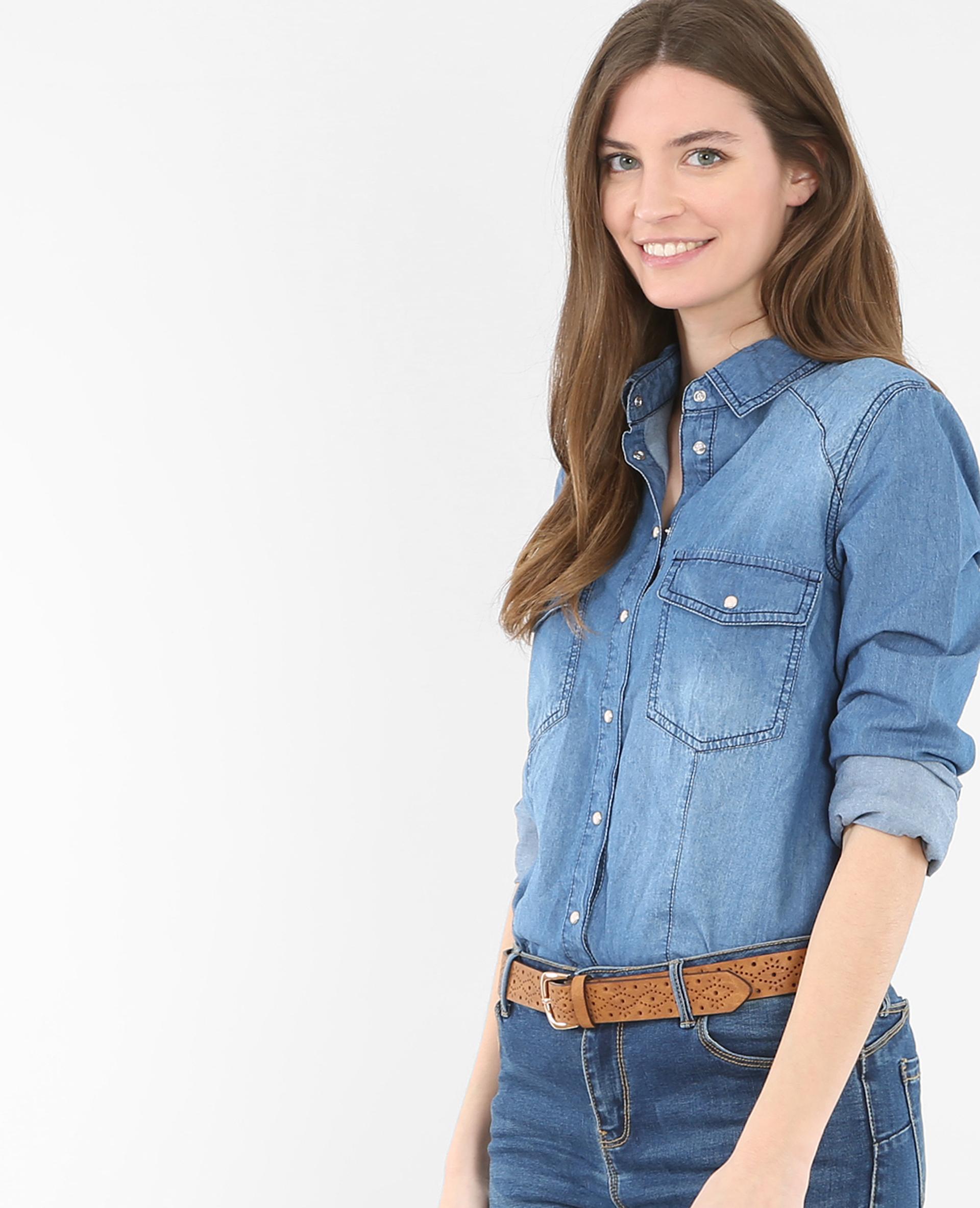 Chemise Jean Longue à chemise en jean bleu - 561161681a0b | pimkie