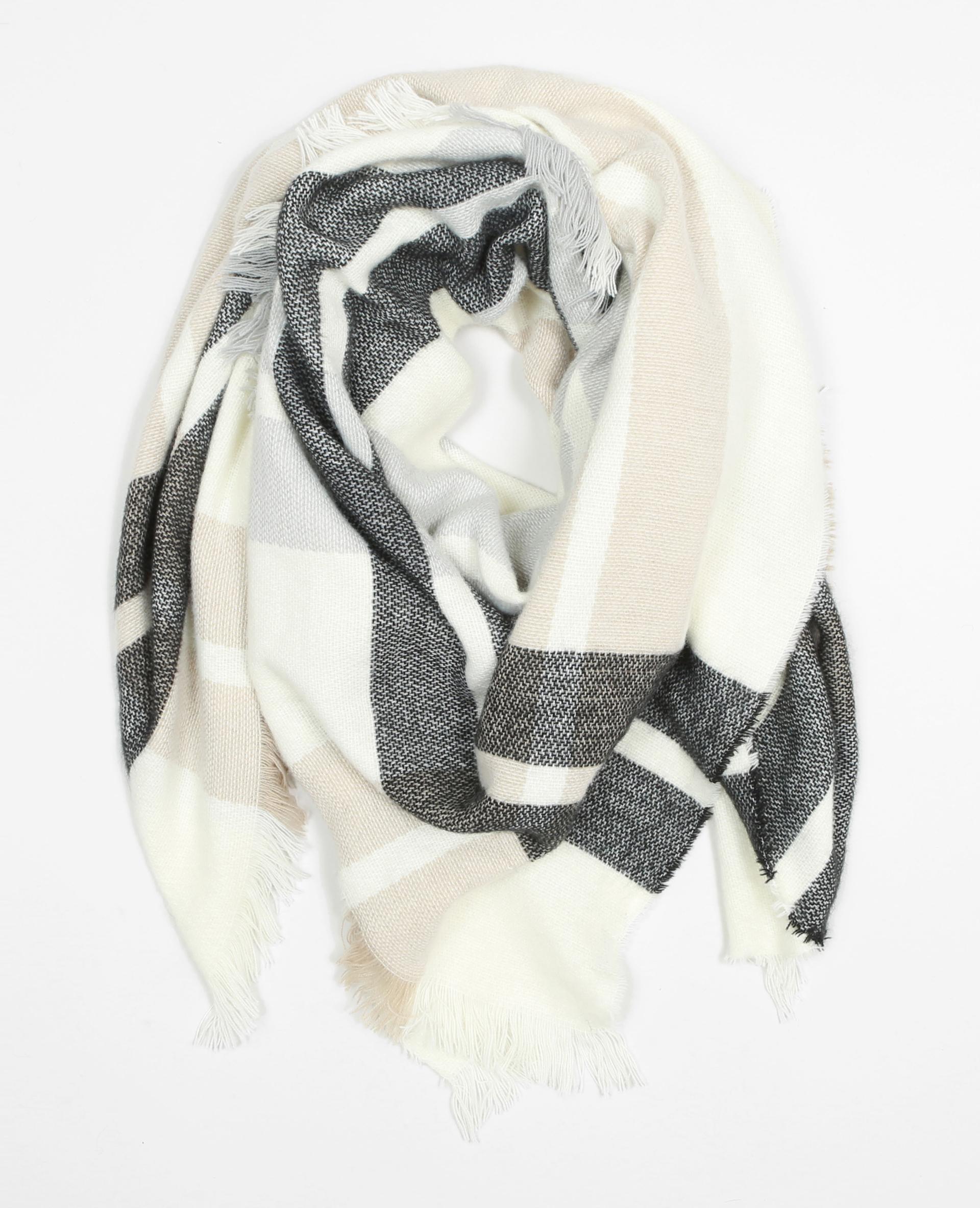echarpe plaid carreaux blanc 902126901b38 pimkie. Black Bedroom Furniture Sets. Home Design Ideas