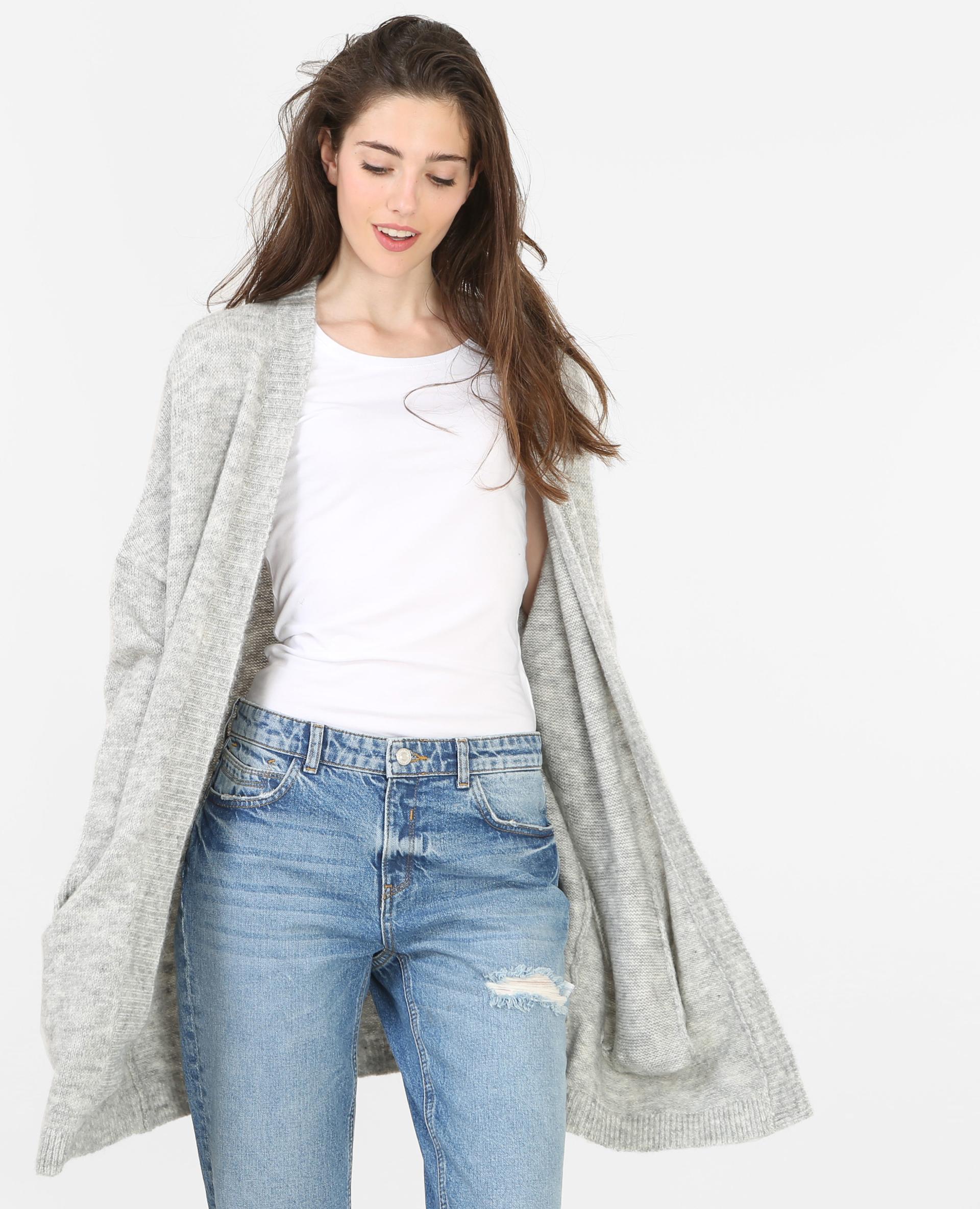 Gilet long femme gris