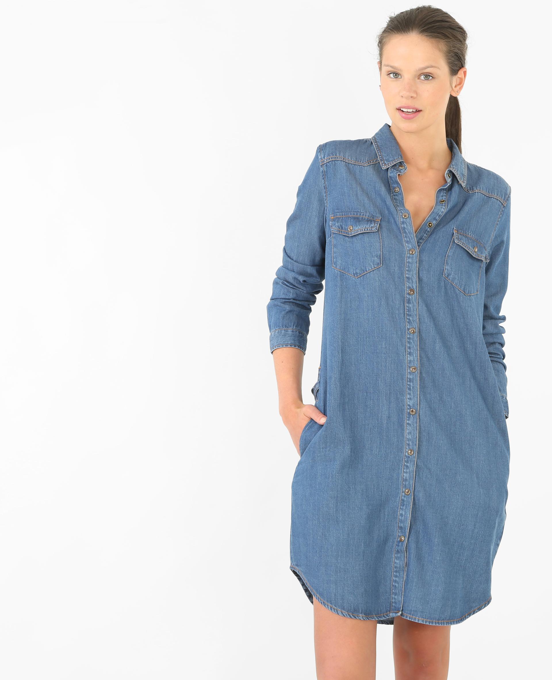 Robe Chemise En Jeans avec robe chemise denim bleu - 780472682a06   pimkie