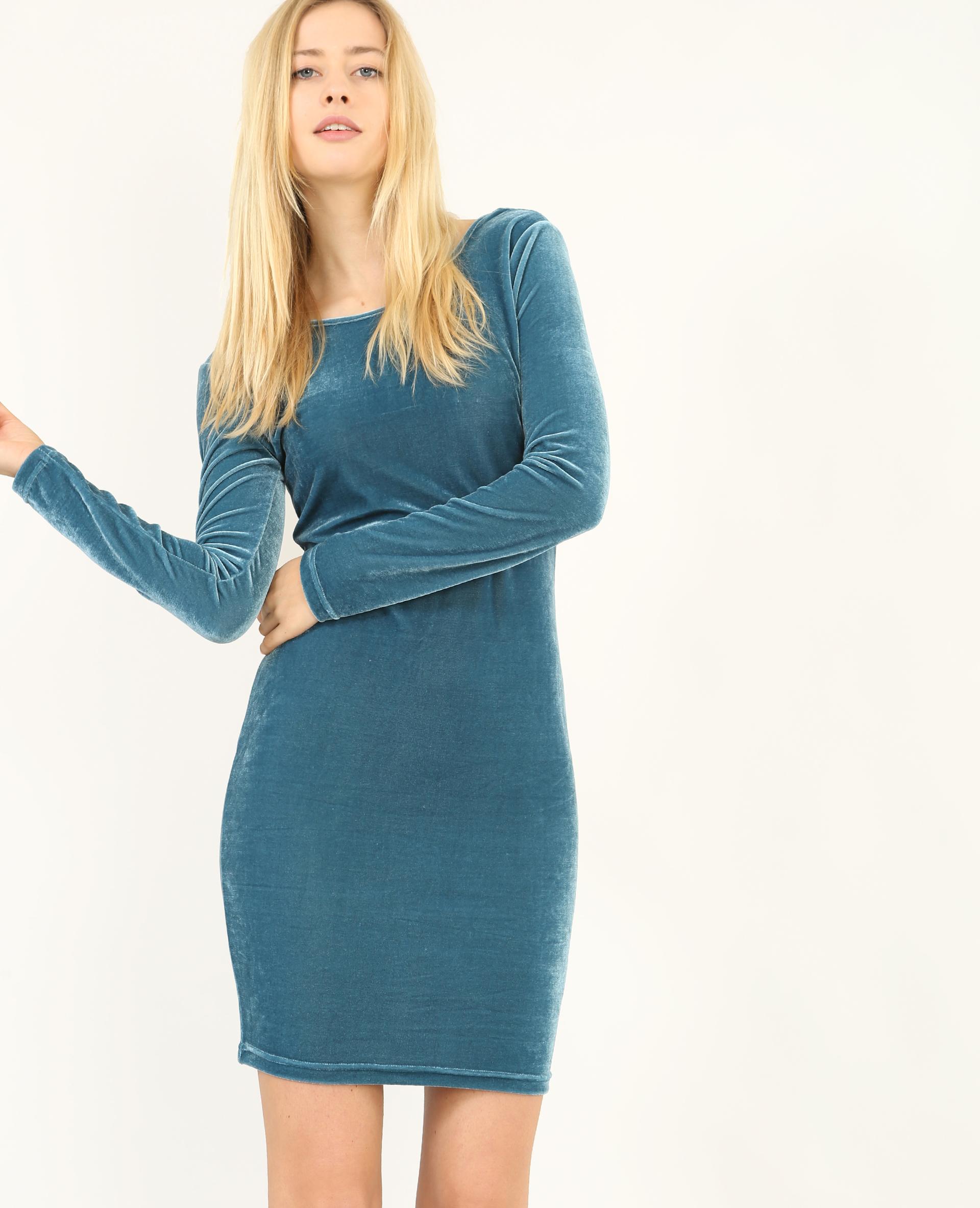 robe velours bleu canard 780807b36a06 pimkie. Black Bedroom Furniture Sets. Home Design Ideas