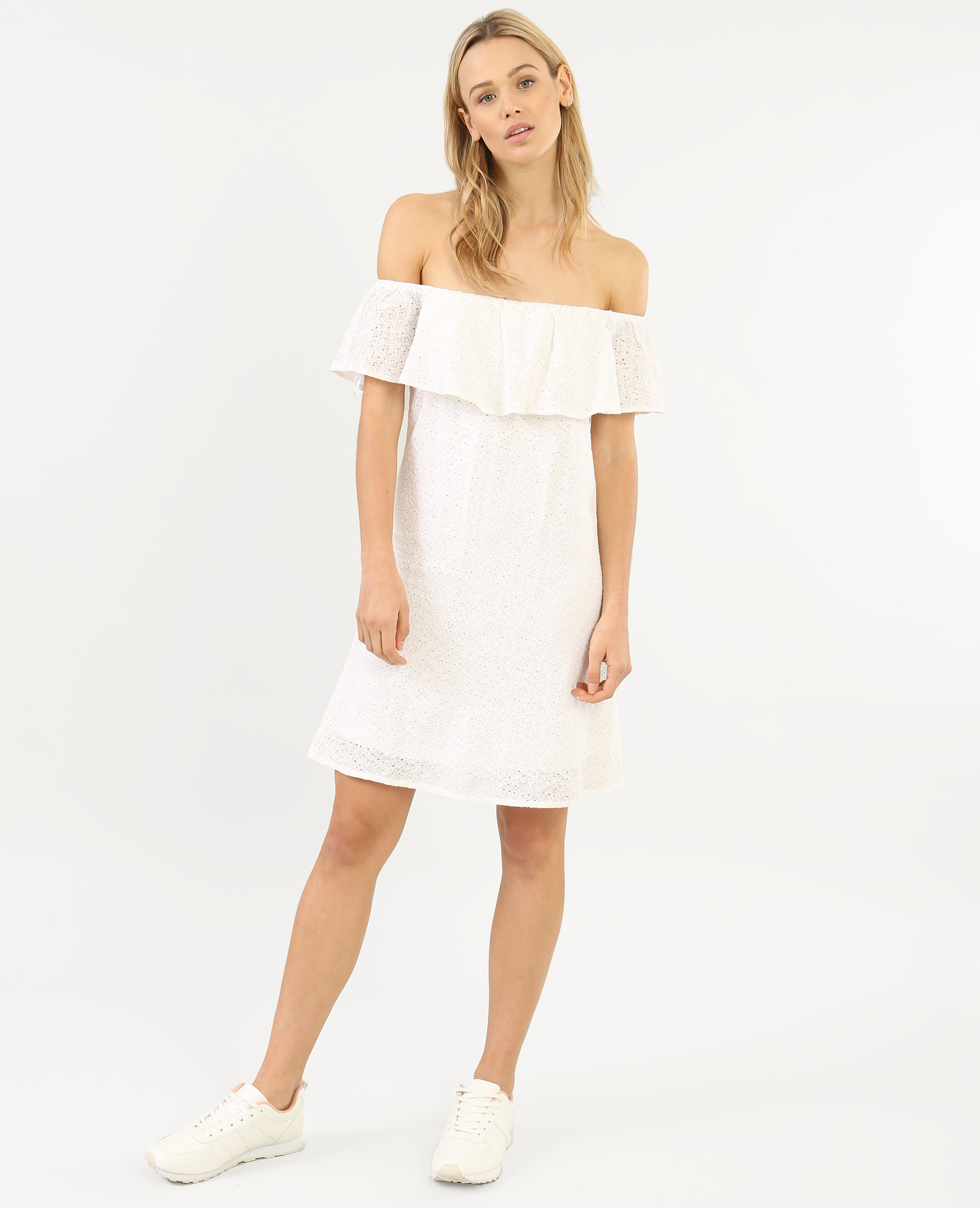 robe dentelle col bardot blanc cass 780598912a09 pimkie. Black Bedroom Furniture Sets. Home Design Ideas