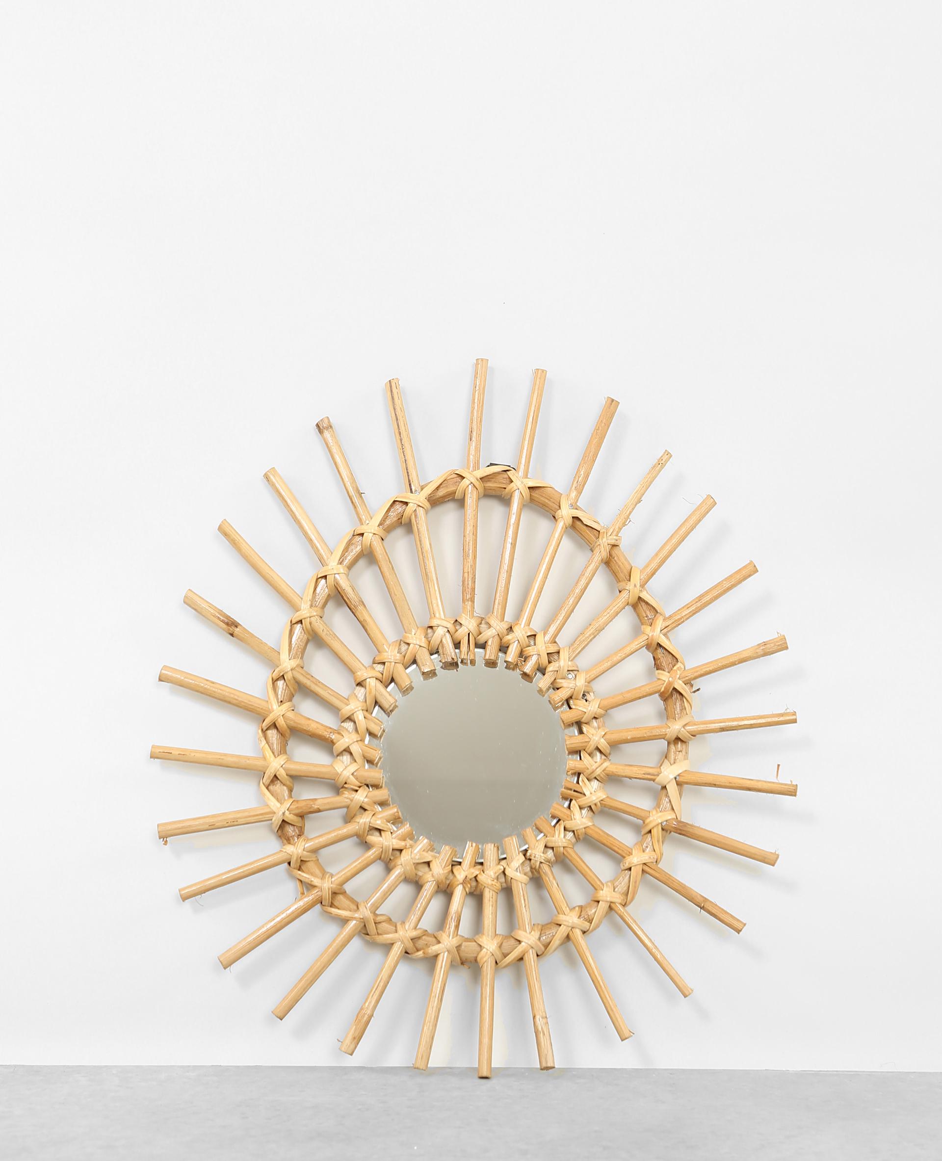 Petit miroir en rotin asym tique beige taupe for Petit miroir