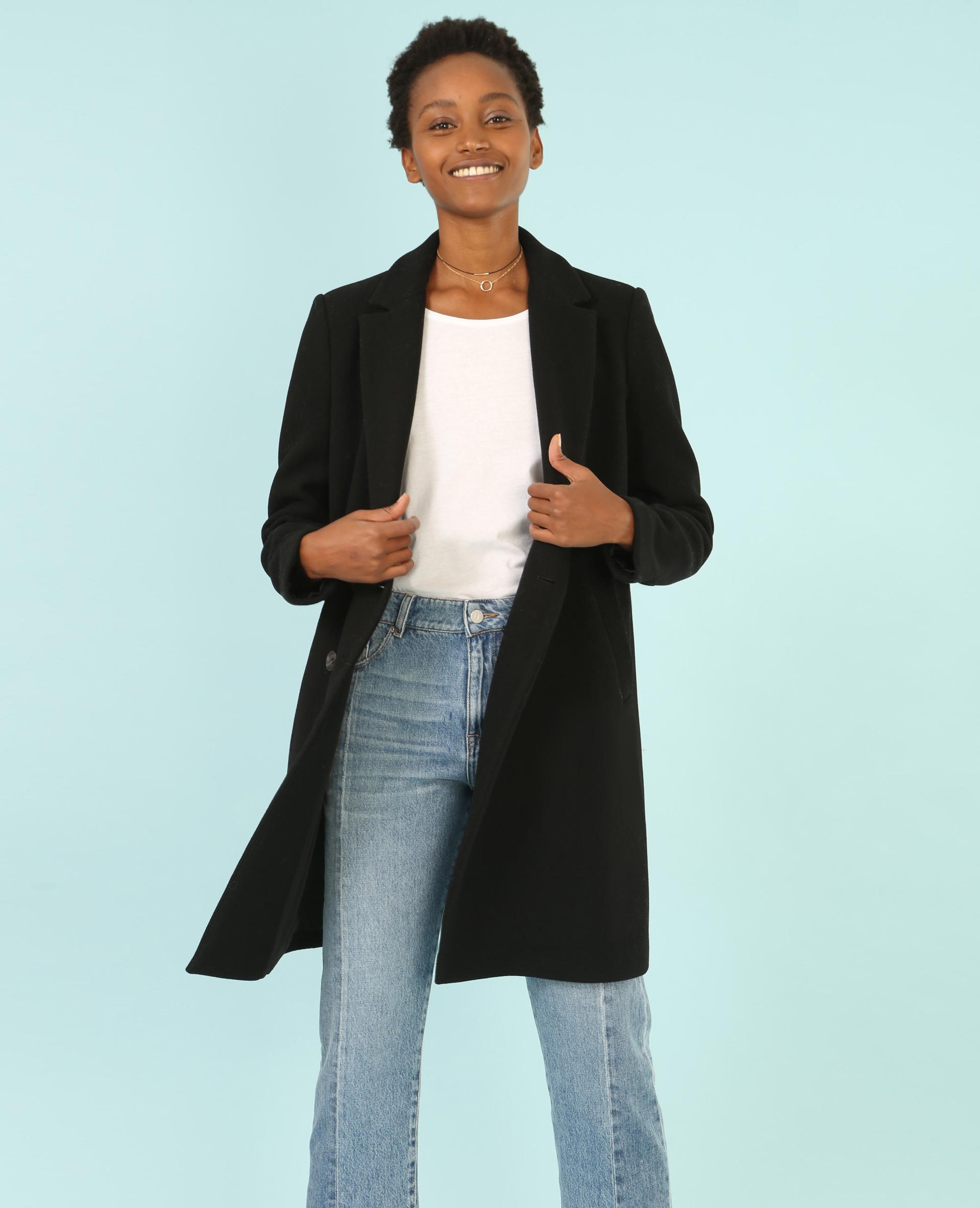 Manteau noir femme masculin