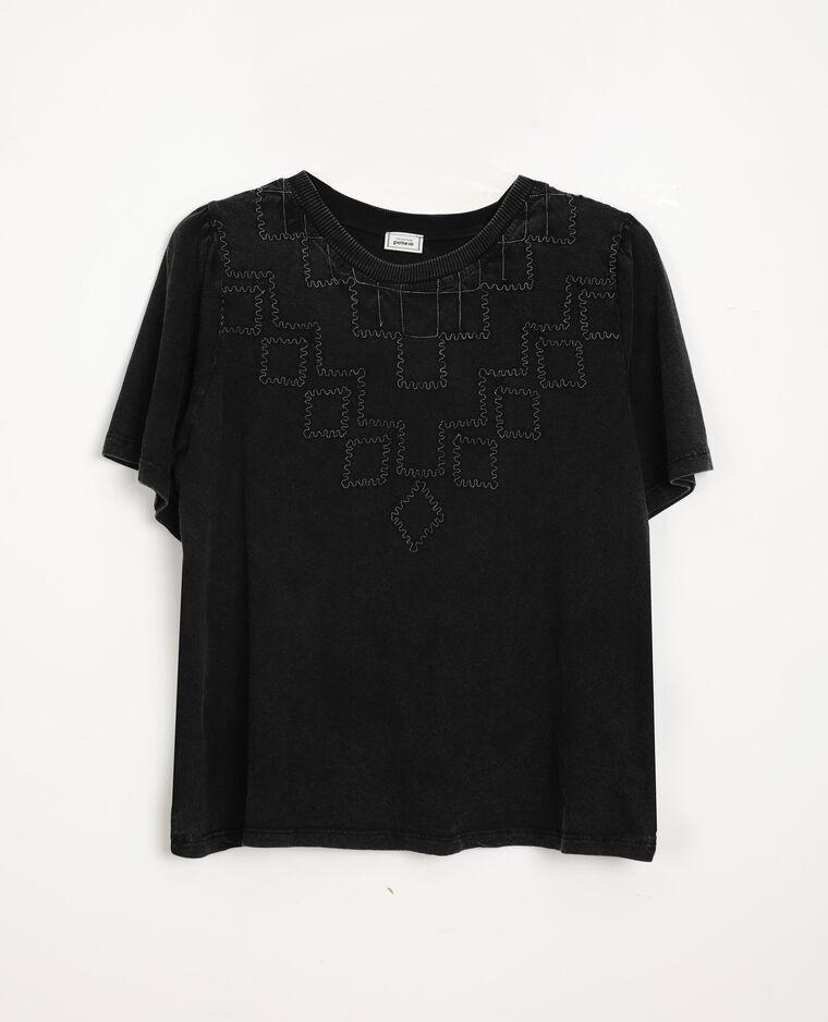 T-shirt à broderies gris anthracite - Pimkie