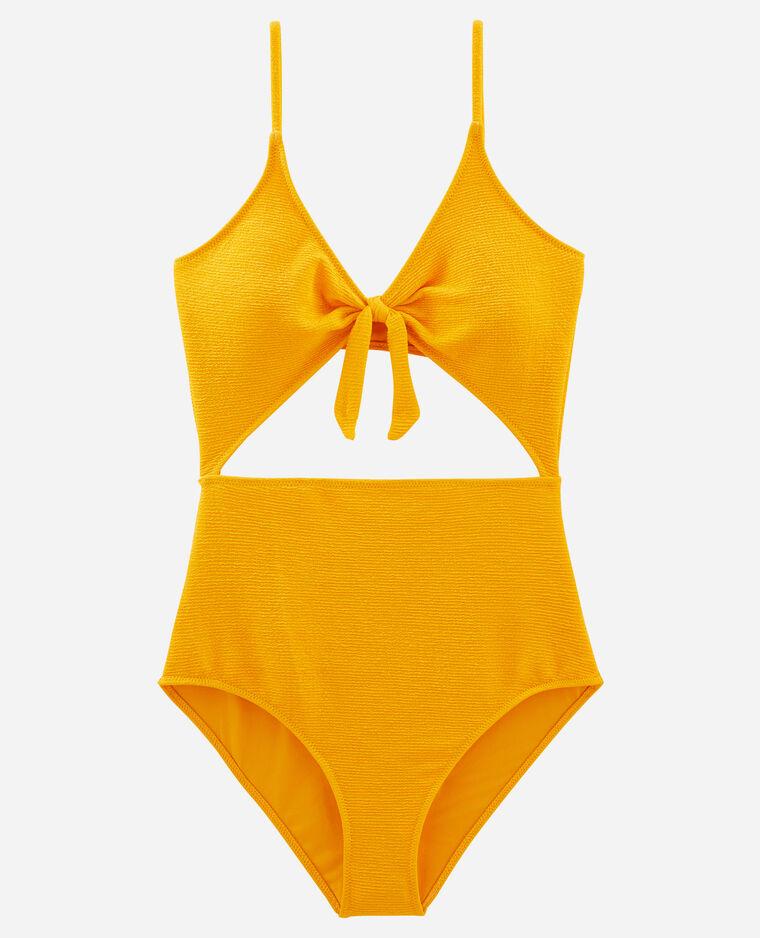 Maillot de bain une pièce à découpes jaune