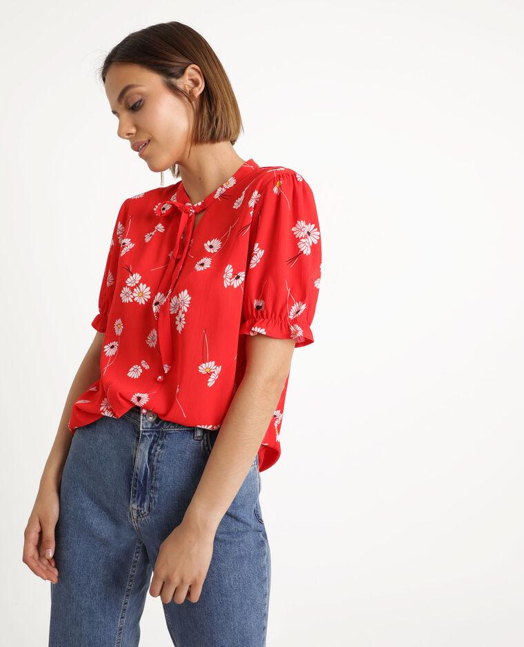 Chemisier fleuri rouge
