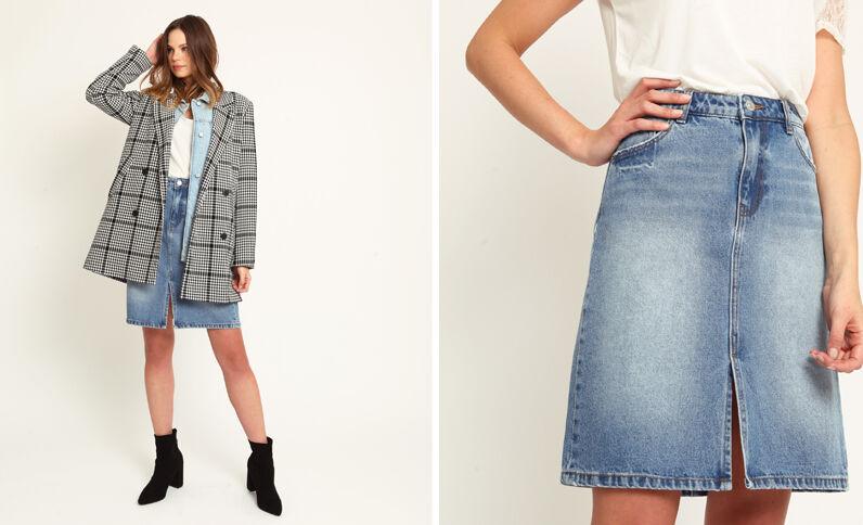 Jupe en jean bleu foncé