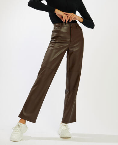 Pantalon droit simili cuir marron - Pimkie