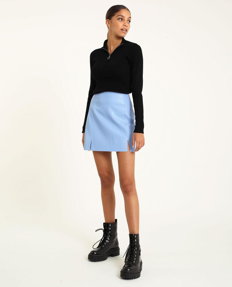 Jupe courte simili cuir bleu aqua - Pimkie