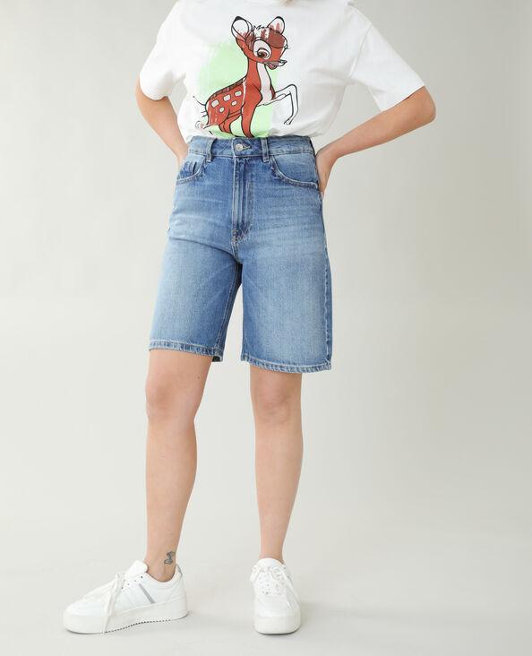 Bermuda en jean high waist bleu denim