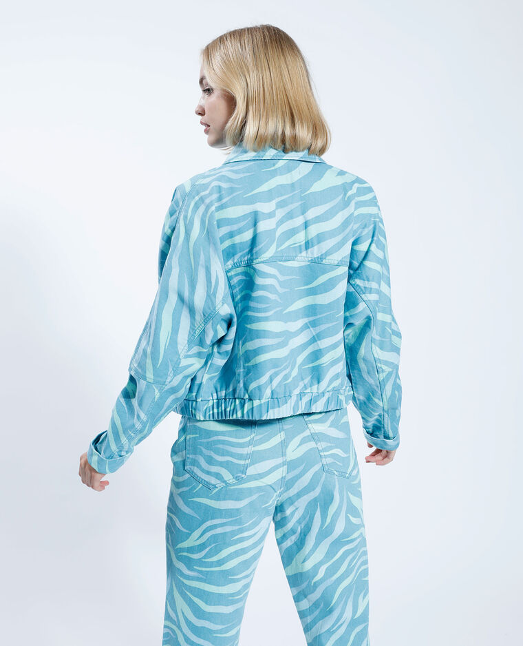Veste denim oversize fantaisie bleu-vert - Pimkie