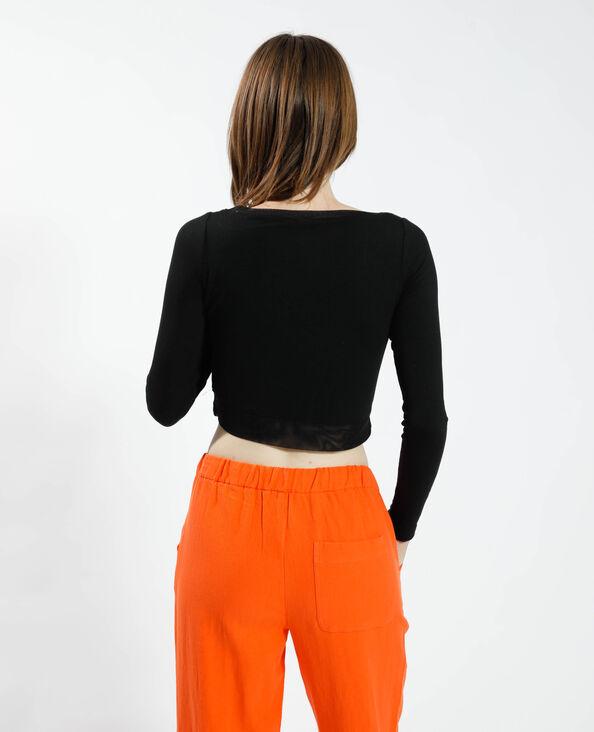 T-shirt cropped avec tulle noir - Pimkie