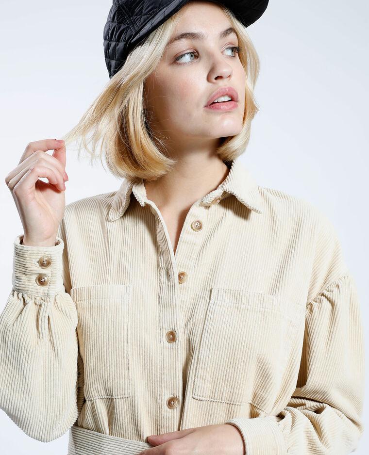 Surchemise en velours avec ceinture beige - Pimkie