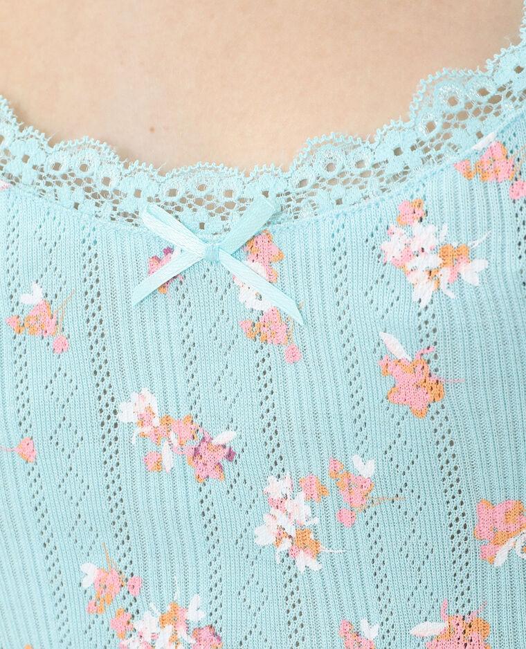 Top à fines bretelles et dentelle bleu clair - Pimkie