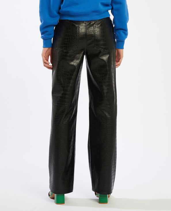 Pantalon simili cuir motif python noir - Pimkie