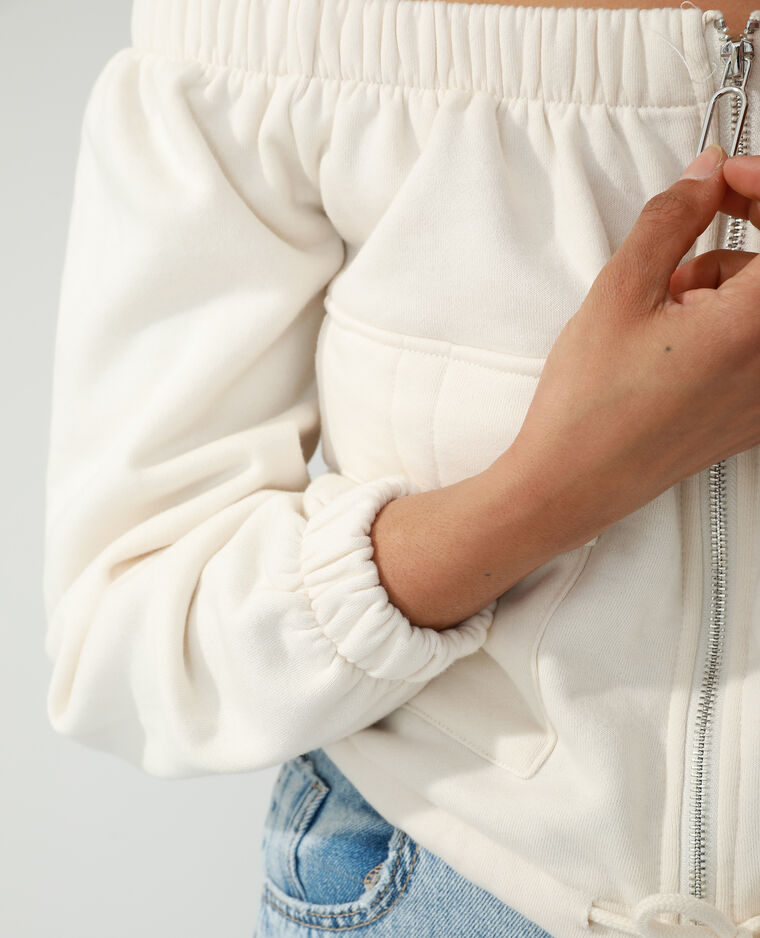 Sweat molleton col Bardot blanc cassé - Pimkie