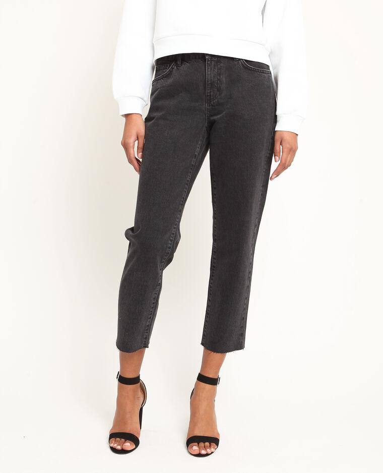 Jean straight mid waist noir