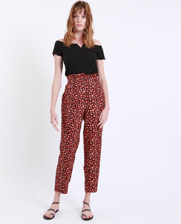 Pantalon à imprimé noir + rouge