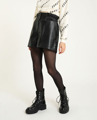 Short taille haute simili cuir noir